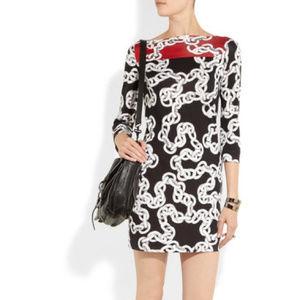 DVF Silk Ruri Nautical Chain Mini Dress, Size 6
